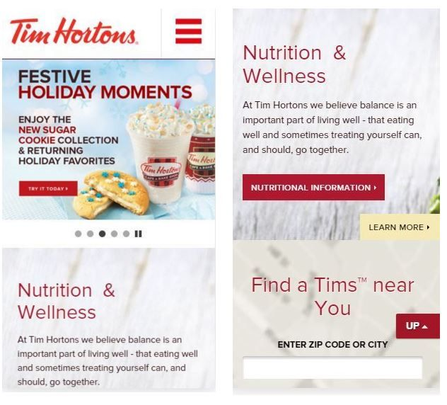 Tim Hortons Mobile Site