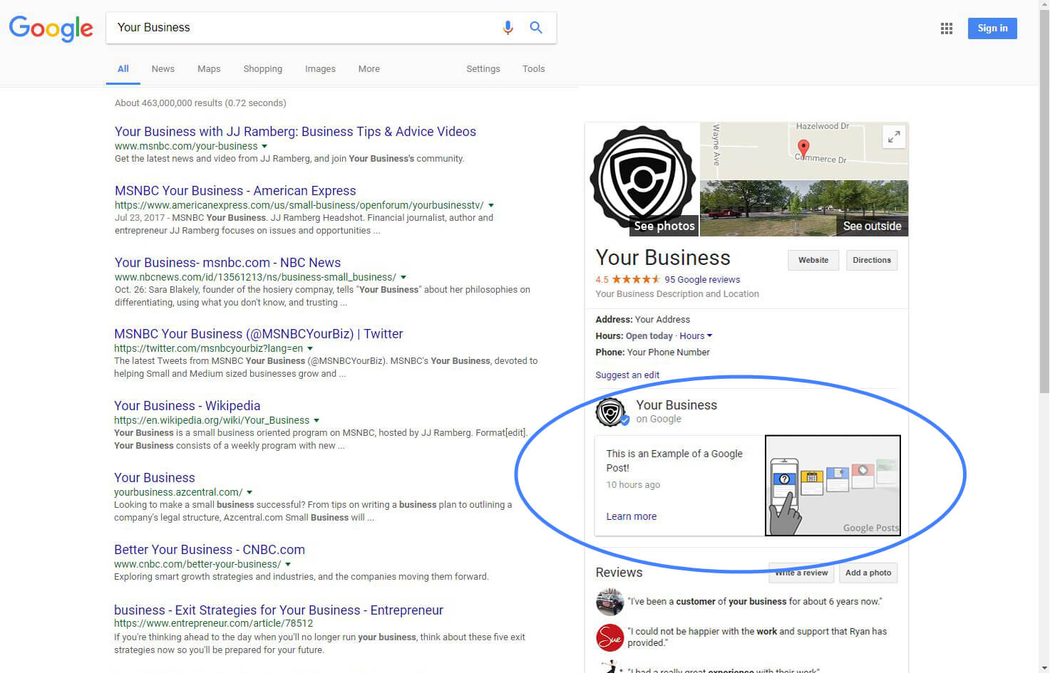 Google Posts in Search Results