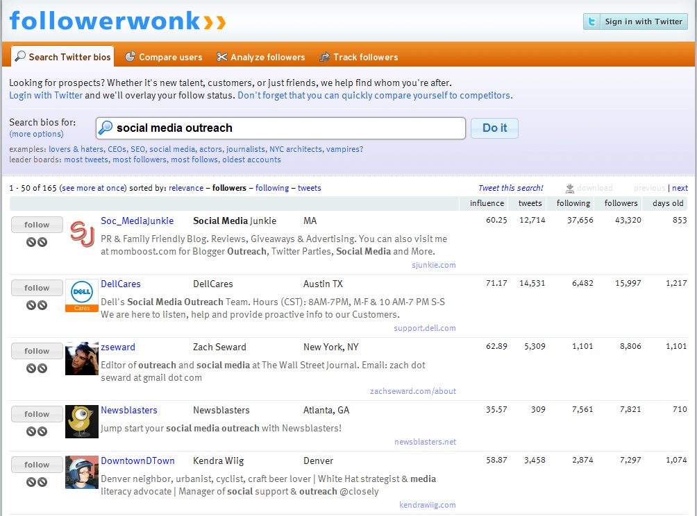 Followerwonk Search Engine