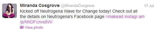 Miranda Cosgrove Tweet