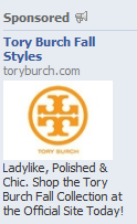 Facebook Tory Burch Sponored Story