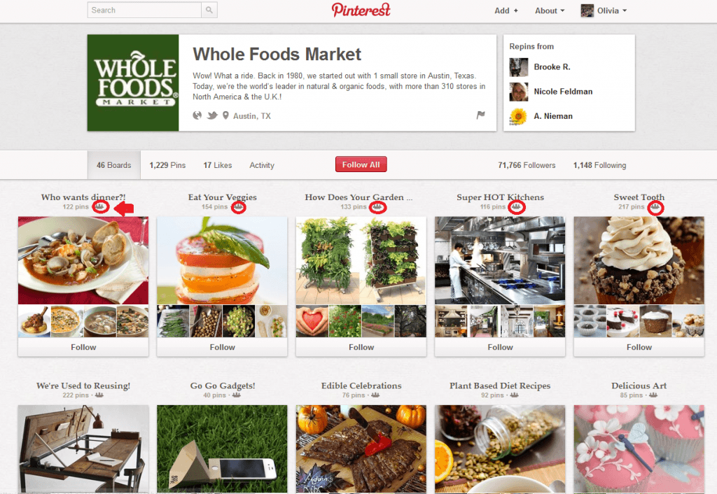 Whole Foods Pinterest Page