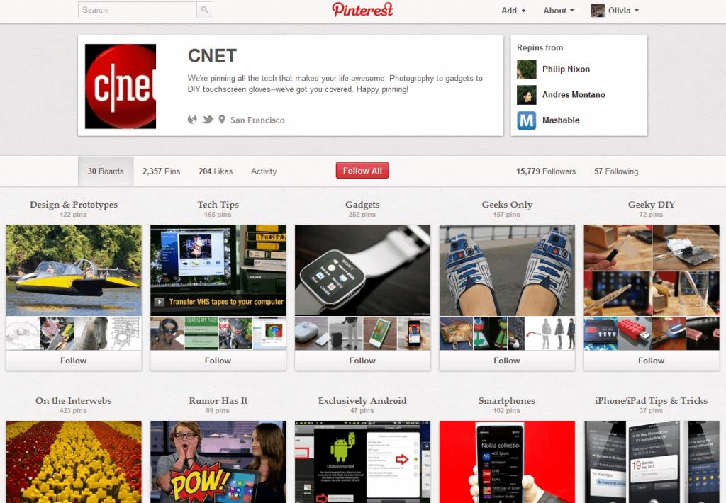 CNET Pinterest