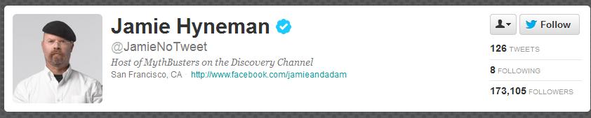 Jamie Hyneman Tweet