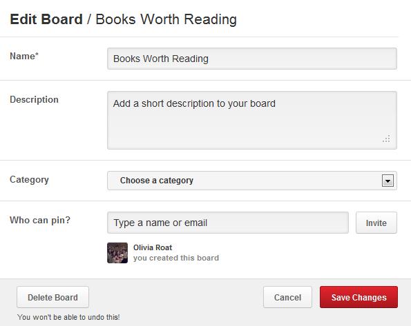Pinterest Edit Board
