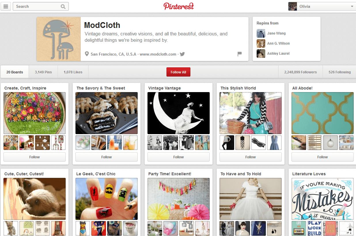 ModCloth Pinterest