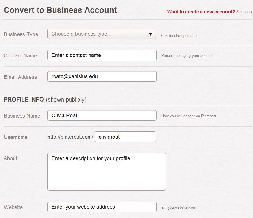 Pinterest Covert Business Account