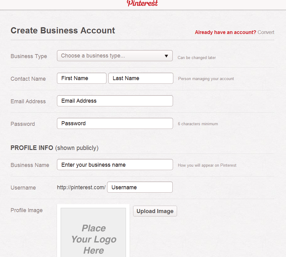 Pinterest Create Business Account