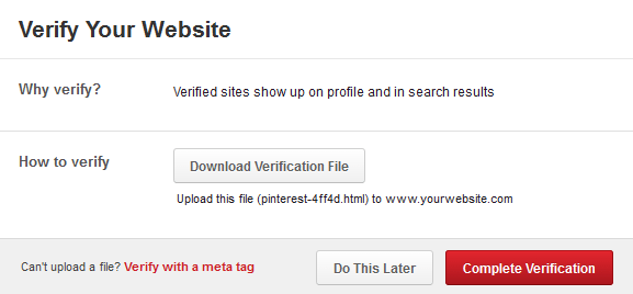 Pinterest Verify Your Website