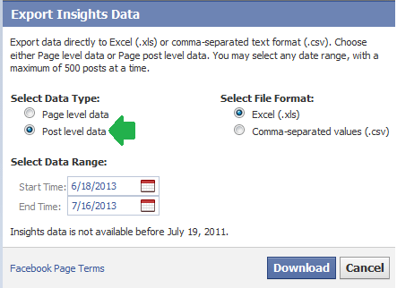 Facebook Export Insights