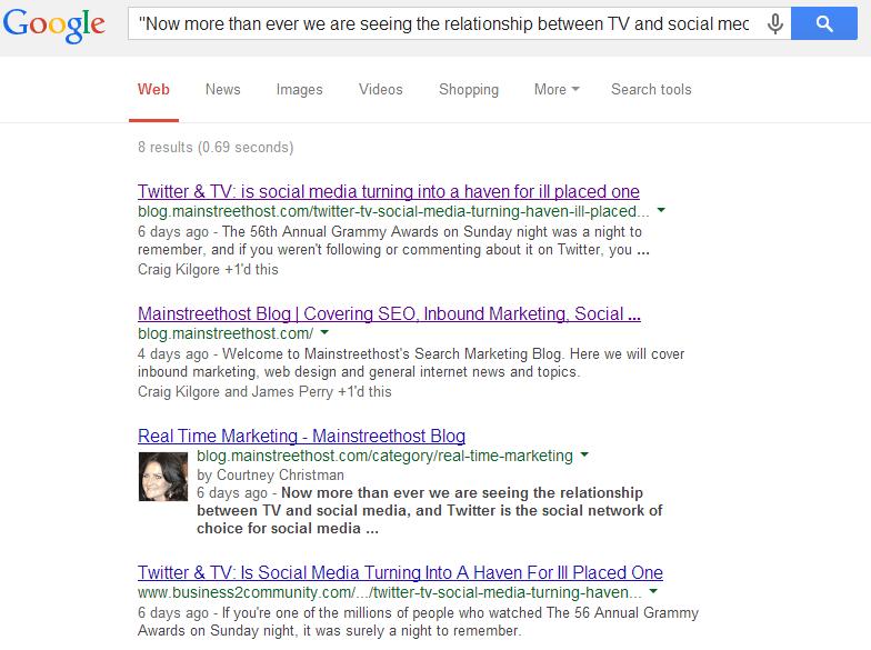 Google Search Duplicate Content