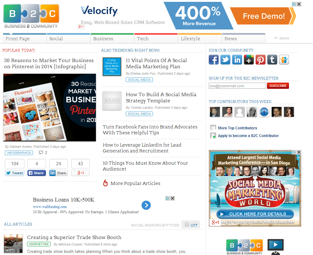 Business 2 Community - Syndicated Content Example