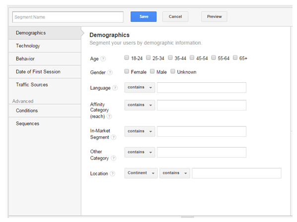 Google Analytics Segment Filter