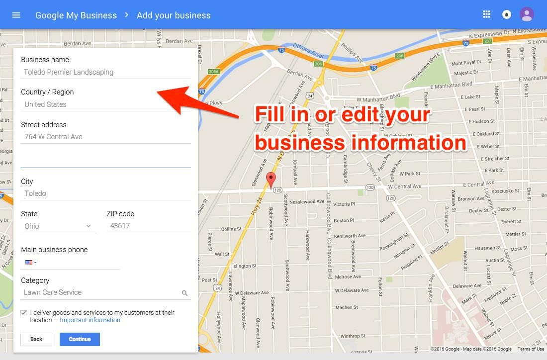 Google My Business Edit Information