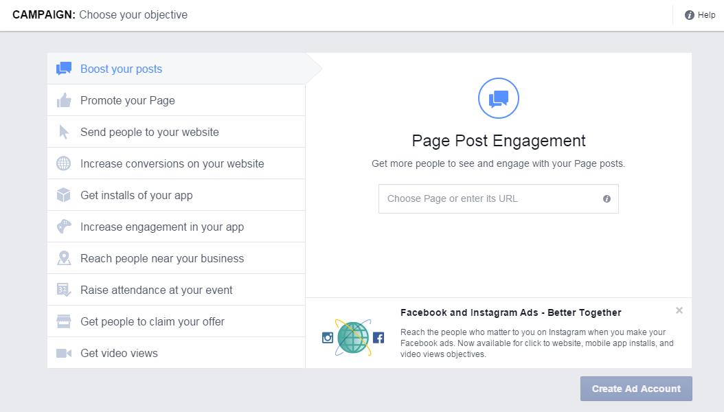Facebook Ad Boosted Post Campaign Objective
