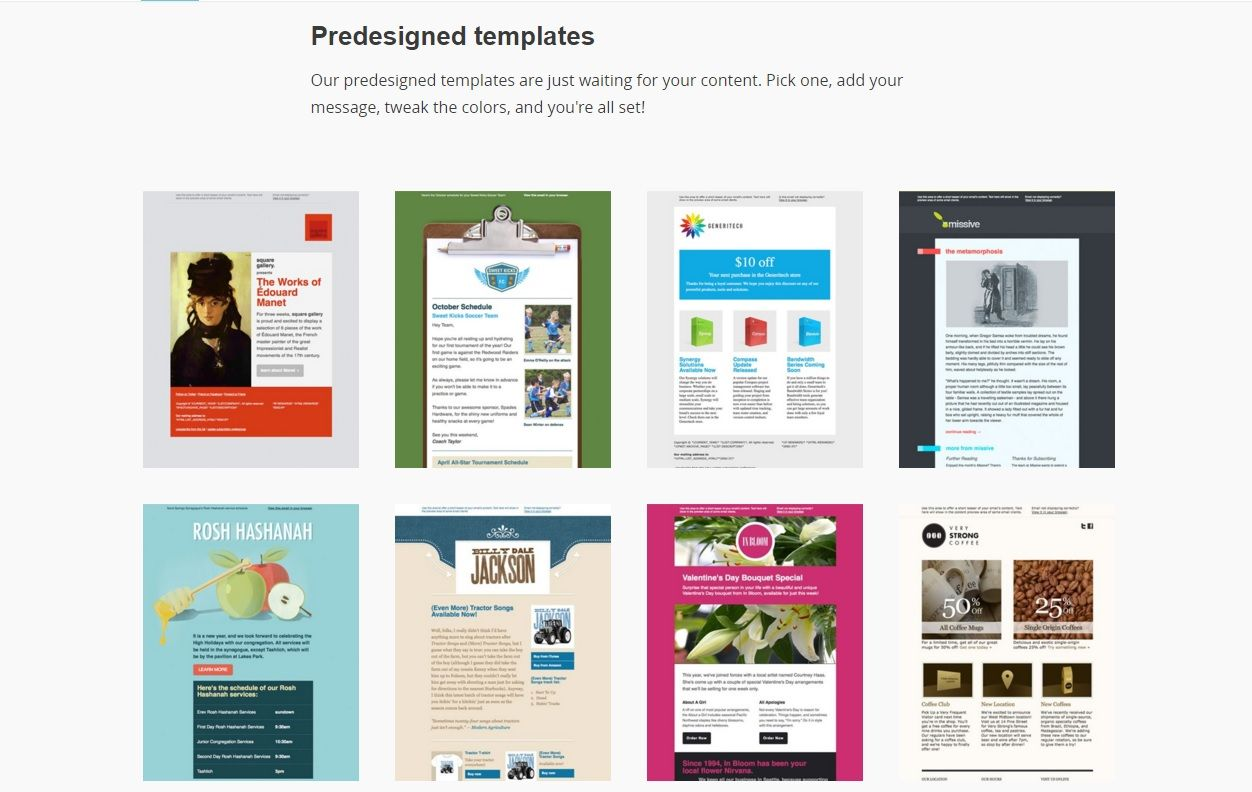 Mailchimp Predesigned Email Templates