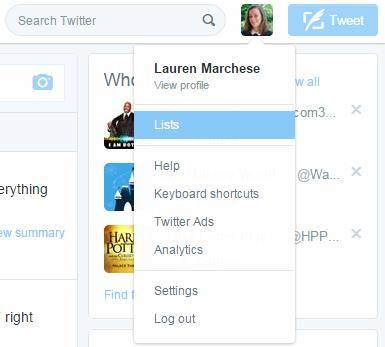 Twitter Lists Drop Down