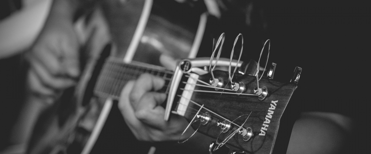 Black and White Close Up of Guitar