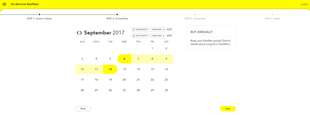 Snapchat Geofilter Date Range