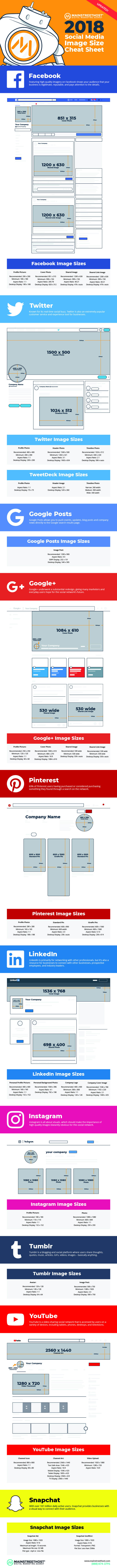 2018 social media image dimensions cheat sheet