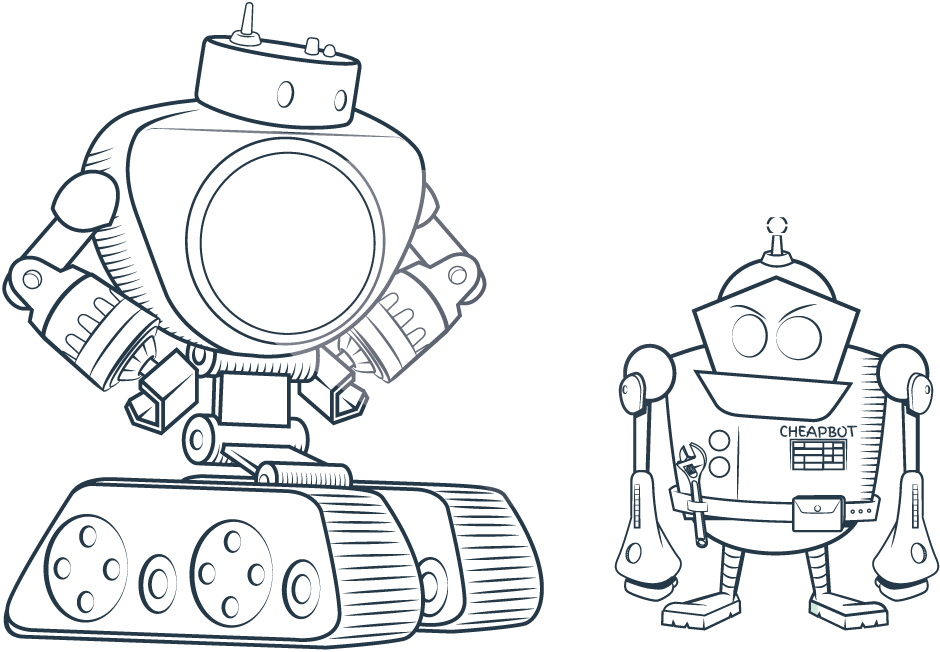 Miles the Robot Looking at Competition