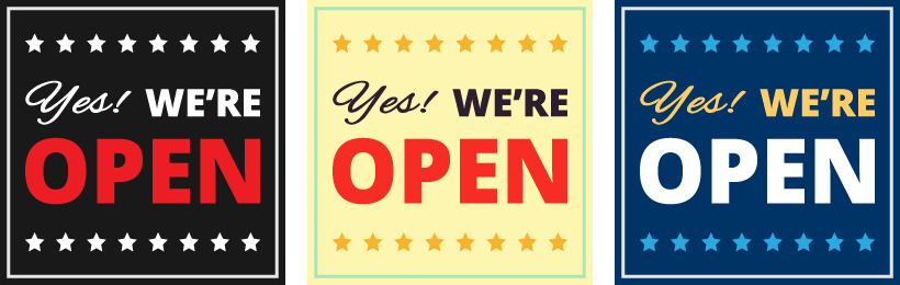 Free Yes! We're Open Social Media Graphics
